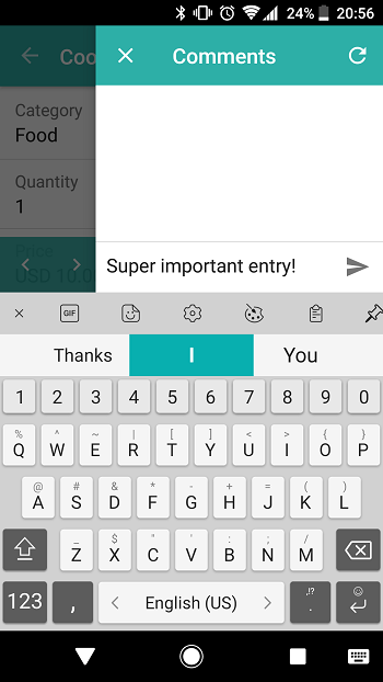 Android: Commenting an entry