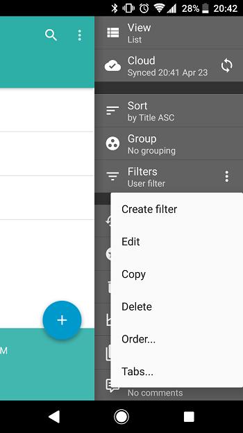 Android: Filter menu