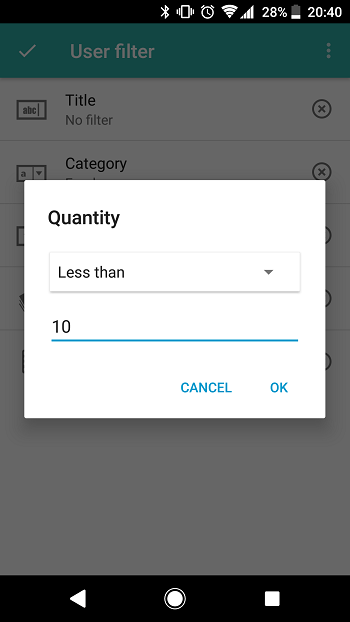 Android: Filter fields