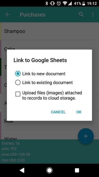 Android: Google Sheets