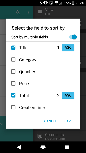 Android: Sorting data